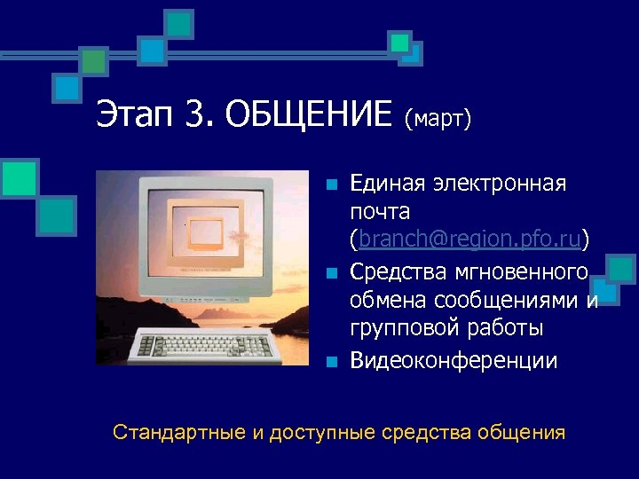 Этап 3. ОБЩЕНИЕ n n n (март) Единая электронная почта (branch@region. pfo. ru) Средства