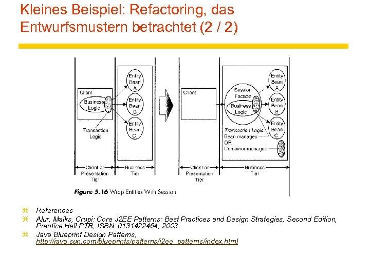 Kleines Beispiel: Refactoring, das Entwurfsmustern betrachtet (2 / 2) z References z Alur, Malks,