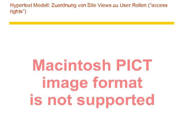 """Hypertext Modell: Zuordnung von Site Views zu User Rollen (""""access rights"""")"""
