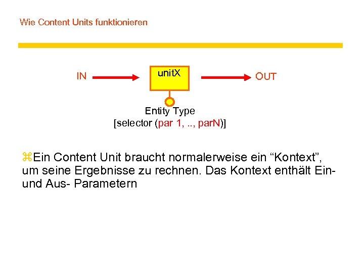 Wie Content Units funktionieren IN unit. X OUT Entity Type [selector (par 1, .