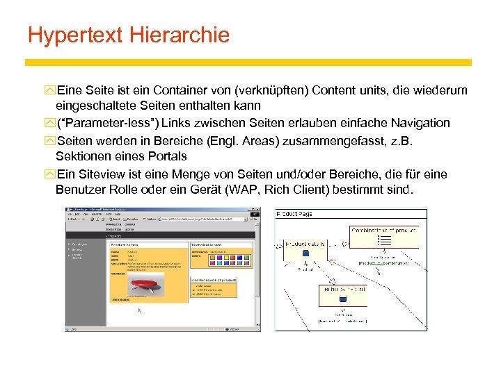 Hypertext Hierarchie y. Eine Seite ist ein Container von (verknüpften) Content units, die wiederum