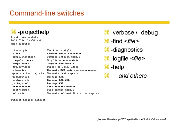 Command-line switches z -projecthelp > ant -projecthelp Buildfile: build. xml Main targets: checkstyle Check
