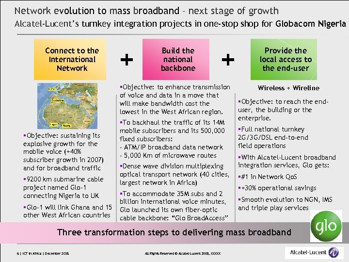 Network evolution to mass broadband – next stage of growth Alcatel-Lucent's turnkey integration projects