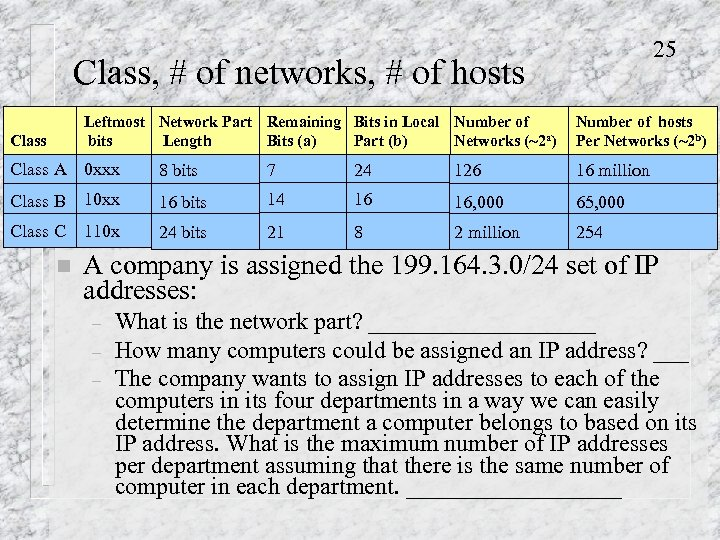25 Class, # of networks, # of hosts Leftmost Network Part Remaining Bits in