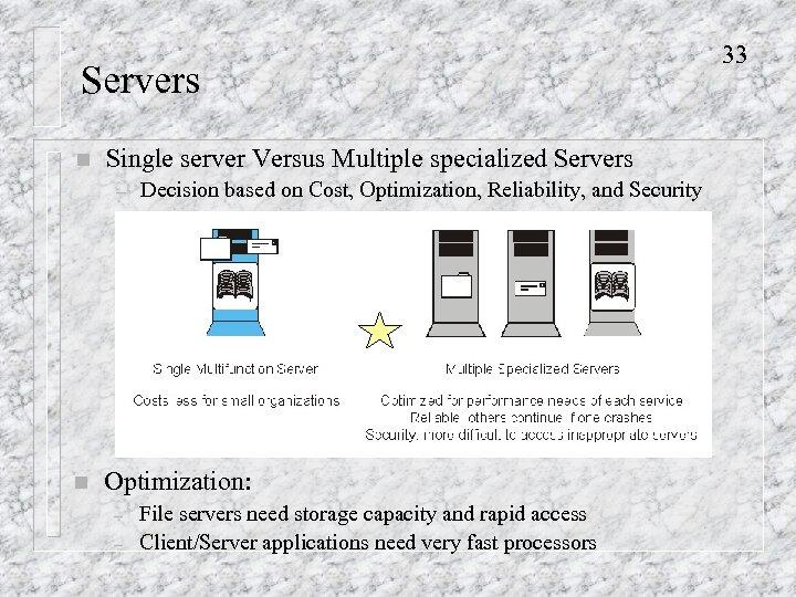 Servers n Single server Versus Multiple specialized Servers – n Decision based on Cost,