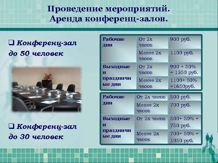 Проведение мероприятий. Аренда конференц-залов. q Конференц-зал до 50 человек Рабочие дни 900 руб. Менее