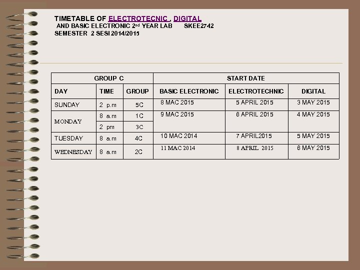 TIMETABLE OF ELECTROTECNIC , DIGITAL AND BASIC ELECTRONIC 2 nd YEAR LAB SEMESTER 2