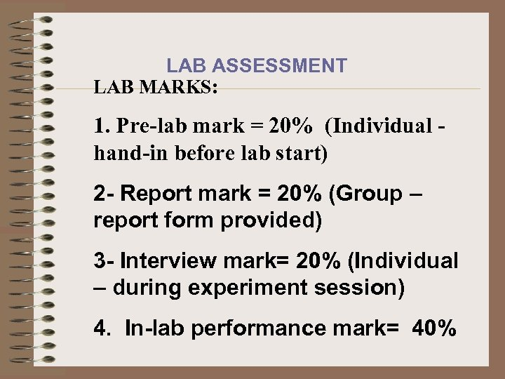 LAB ASSESSMENT LAB MARKS: 1. Pre-lab mark = 20% (Individual hand-in before lab start)