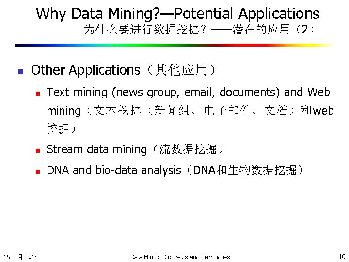 Why Data Mining? —Potential Applications 为什么要进行数据挖掘?——潜在的应用(2) n Other Applications(其他应用) n Text mining (news group,
