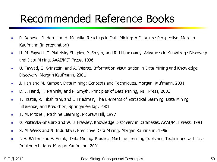 Recommended Reference Books n R. Agrawal, J. Han, and H. Mannila, Readings in Data