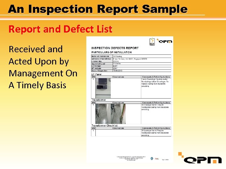 An Inspection Report Sample Report and Defect List Received and Acted Upon by Management