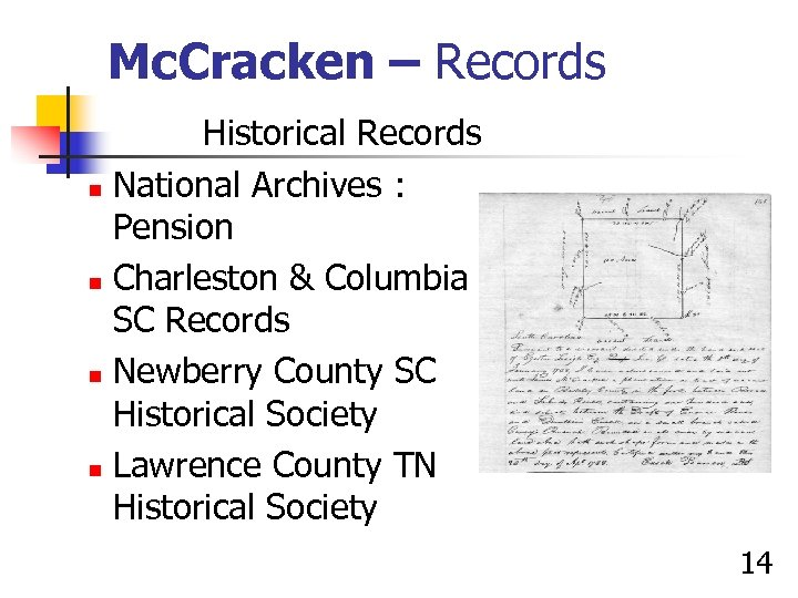 Mc. Cracken – Records Historical Records n National Archives : Pension n Charleston &
