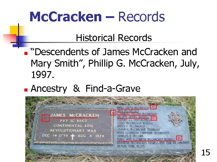 "Mc. Cracken – Records Historical Records n ""Descendents of James Mc. Cracken and Mary"