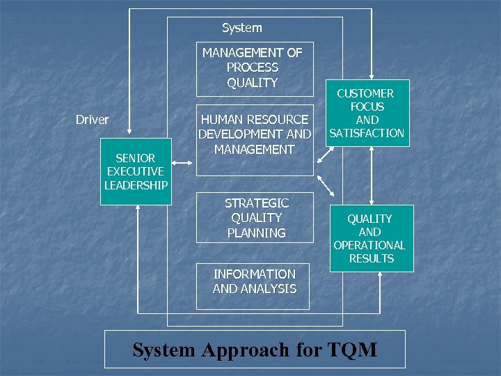 System MANAGEMENT OF PROCESS QUALITY Driver SENIOR EXECUTIVE LEADERSHIP HUMAN RESOURCE DEVELOPMENT AND MANAGEMENT