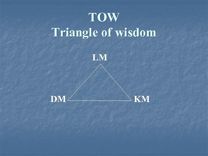 TOW Triangle of wisdom LM DM KM