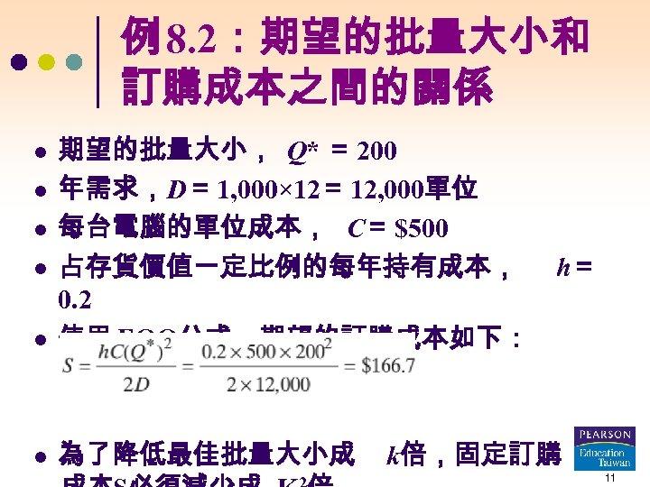 例 8. 2:期望的批量大小和 訂購成本之間的關係 l 期望的批量大小, Q* = 200 年需求,D= 1, 000× 12= 12,