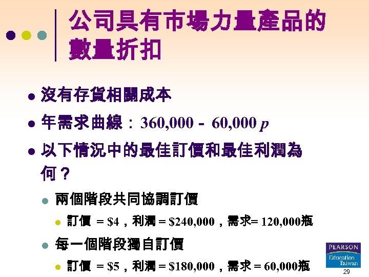 公司具有市場力量產品的 數量折扣 l 沒有存貨相關成本 l 年需求曲線: 360, 000- 60, 000 p l 以下情況中的最佳訂價和最佳利潤為 何?