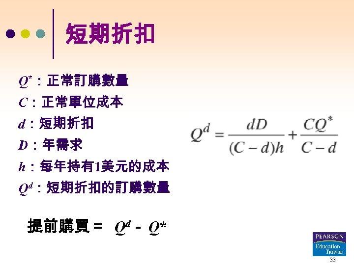 短期折扣 Q*:正常訂購數量 C:正常單位成本 d:短期折扣 D:年需求 h:每年持有1美元的成本 Qd:短期折扣的訂購數量 提前購買= Qd- Q* 33