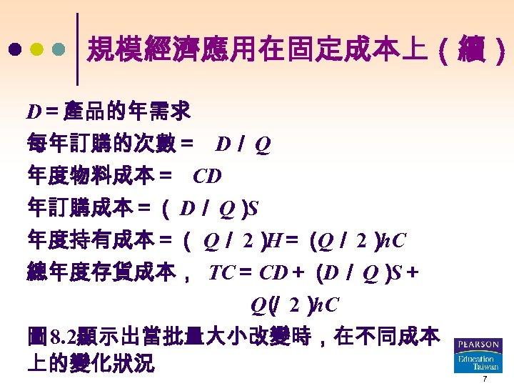 規模經濟應用在固定成本上(續) D=產品的年需求 每年訂購的次數= D/ Q 年度物料成本= CD 年訂購成本=( D/ Q) S 年度持有成本=( Q/ 2)