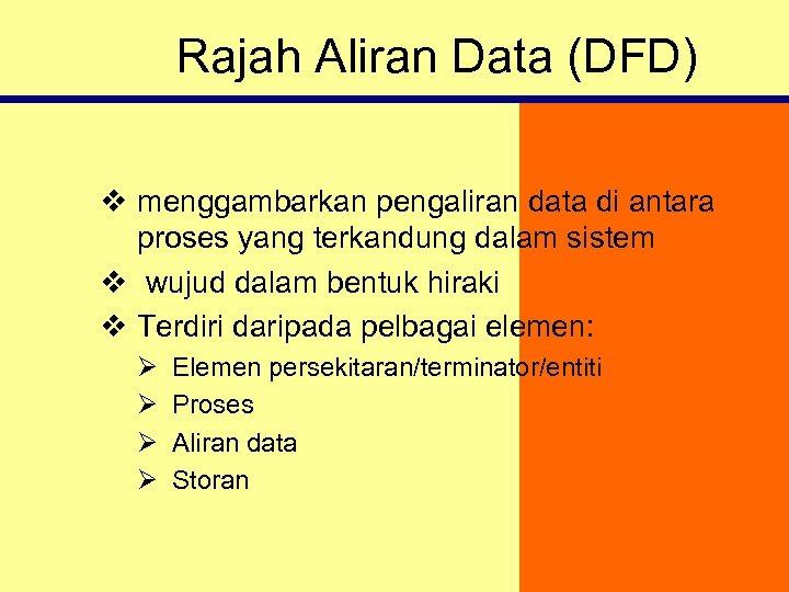Rajah Aliran Data (DFD) v menggambarkan pengaliran data di antara proses yang terkandung dalam