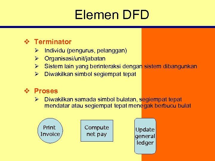 Elemen DFD v Terminator Ø Ø Individu (pengurus, pelanggan) Organisasi/unit/jabatan Sistem lain yang berinteraksi