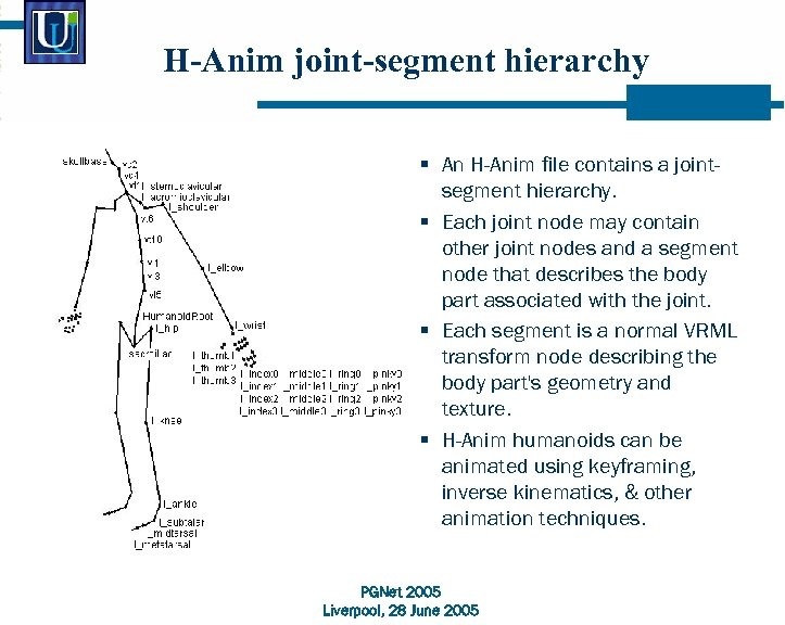 H-Anim joint-segment hierarchy § An H-Anim file contains a jointsegment hierarchy. § Each joint