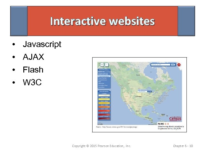 Interactive websites • • Javascript AJAX Flash W 3 C Copyright © 2015 Pearson