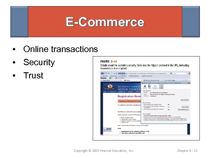 E-Commerce • Online transactions • Security • Trust Copyright © 2015 Pearson Education, .