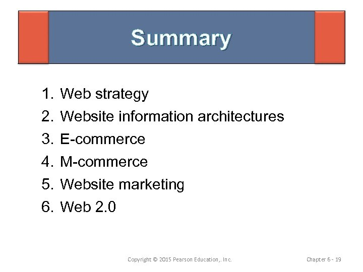 Summary 1. 2. 3. 4. 5. 6. Web strategy Website information architectures E-commerce M-commerce