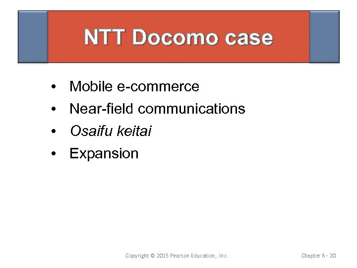 NTT Docomo case • • Mobile e-commerce Near-field communications Osaifu keitai Expansion Copyright ©