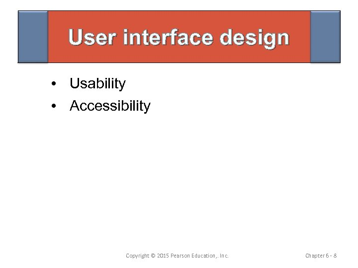 User interface design • Usability • Accessibility Copyright © 2015 Pearson Education, . Inc.