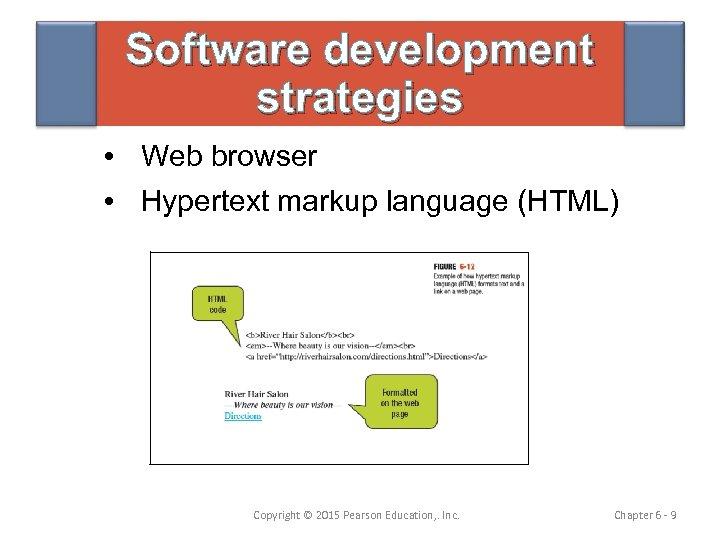 Software development strategies • Web browser • Hypertext markup language (HTML) Copyright © 2015