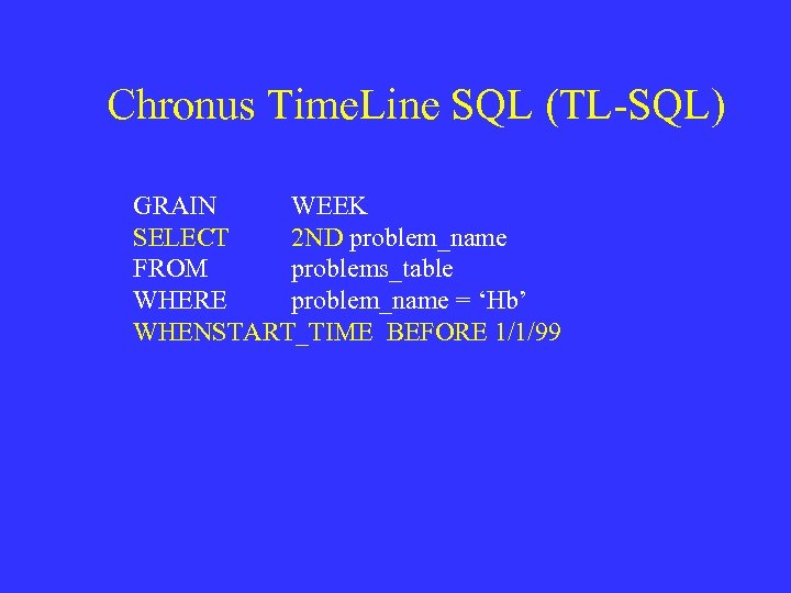 Chronus Time. Line SQL (TL-SQL) GRAIN WEEK SELECT 2 ND problem_name FROM problems_table WHERE