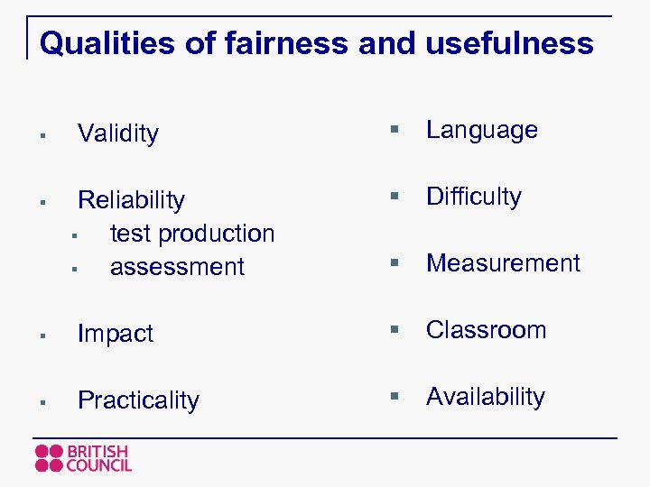 Qualities of fairness and usefulness Validity § Language Reliability § test production § assessment