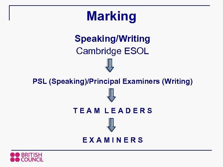 Marking Speaking/Writing Cambridge ESOL PSL (Speaking)/Principal Examiners (Writing) TEAM LEADERS EXAMINERS