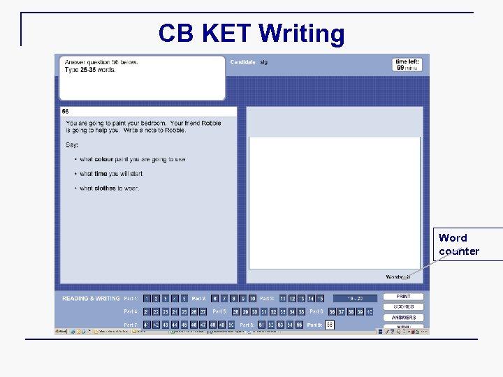 CB KET Writing Word counter