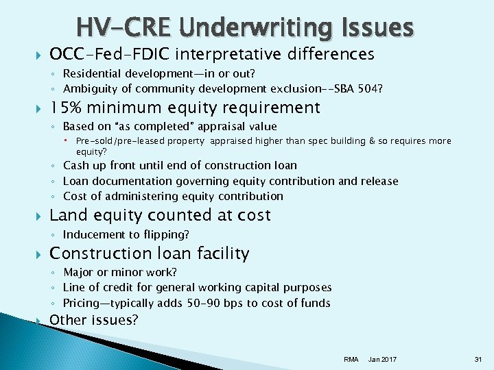 HV-CRE Underwriting Issues OCC-Fed-FDIC interpretative differences ◦ Residential development—in or out? ◦ Ambiguity of