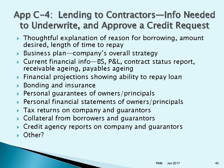 App C-4: Lending to Contractors—Info Needed to Underwrite, and Approve a Credit Request Thoughtful
