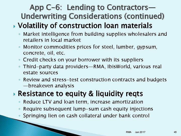 App C-6: Lending to Contractors— Underwriting Considerations (continued) Volatility of construction loan materials