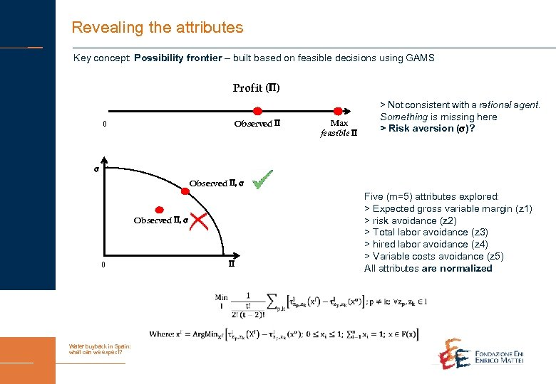 Revealing the attributes Key concept: Possibility frontier – built based on feasible decisions using