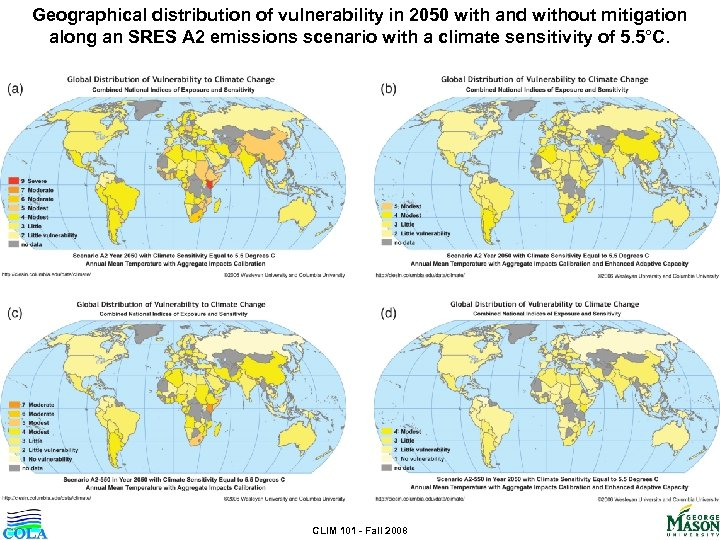 Geographical distribution of vulnerability in 2050 with and without mitigation along an SRES A
