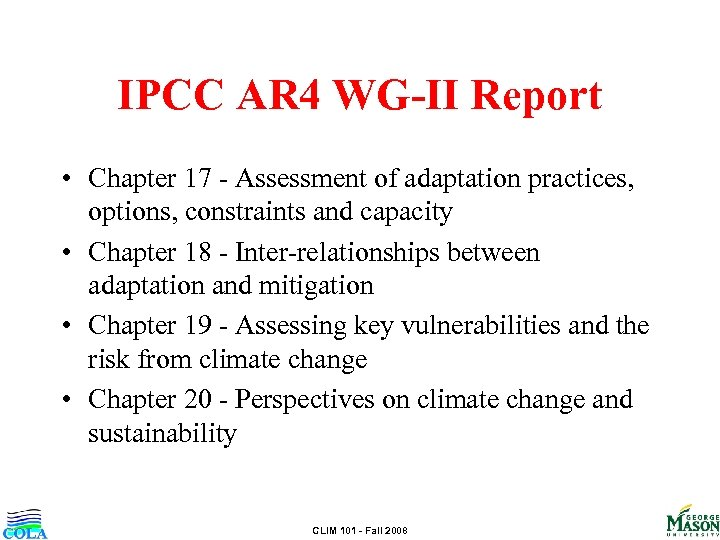 IPCC AR 4 WG-II Report • Chapter 17 - Assessment of adaptation practices, options,