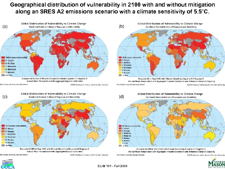 Geographical distribution of vulnerability in 2100 with and without mitigation along an SRES A