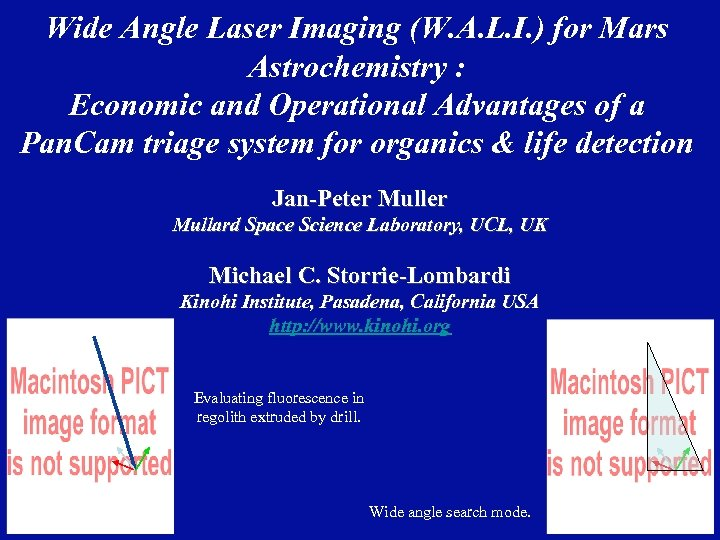 Wide Angle Laser Imaging (W. A. L. I. ) for Mars Astrochemistry : Economic