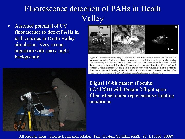 Fluorescence detection of PAHs in Death Valley • Assessed potential of UV fluorescence to