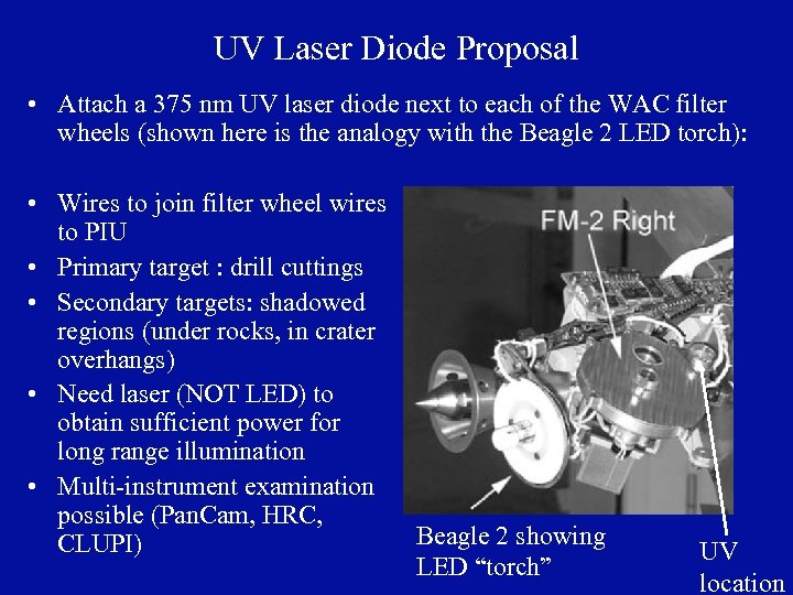 UV Laser Diode Proposal • Attach a 375 nm UV laser diode next to