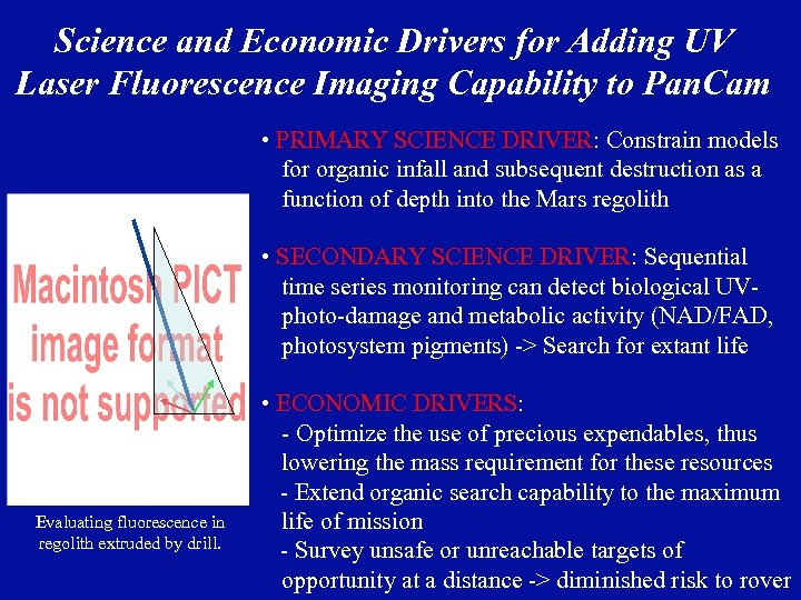 Science and Economic Drivers for Adding UV Laser Fluorescence Imaging Capability to Pan. Cam