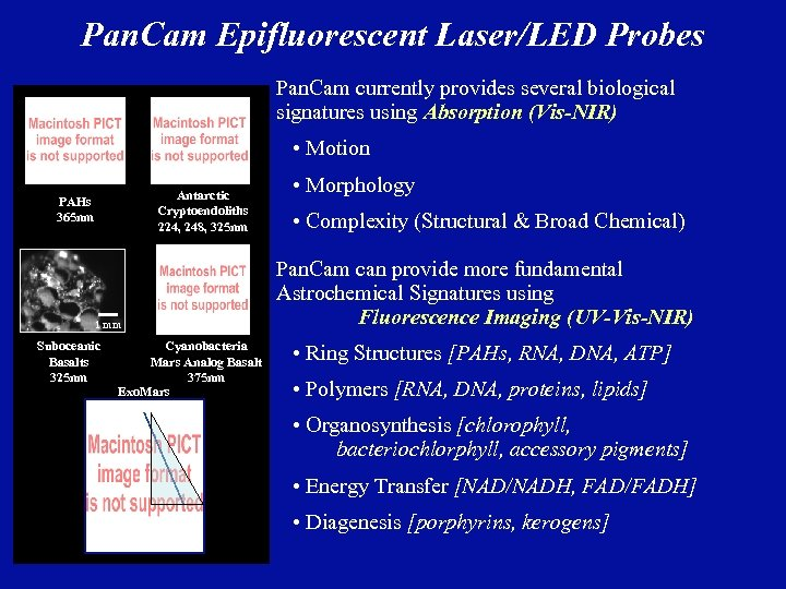 Pan. Cam Epifluorescent Laser/LED Probes Pan. Cam currently provides several biological signatures using Absorption