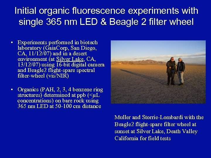 Initial organic fluorescence experiments with single 365 nm LED & Beagle 2 filter wheel