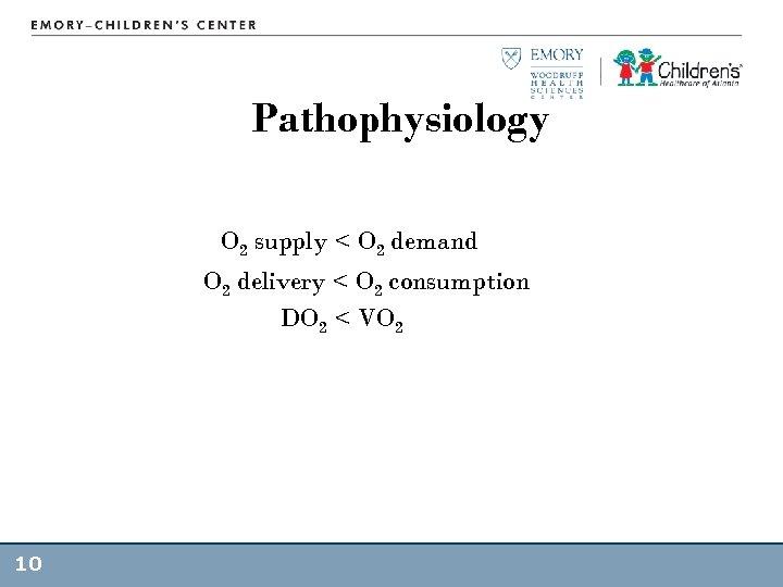Pathophysiology O 2 supply < O 2 demand O 2 delivery < O 2